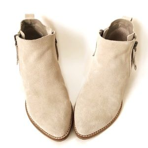 Dolce Vita Leather Stone Booties Ankle Boots Cream